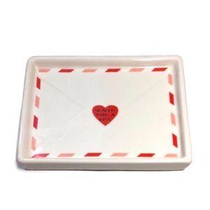 """Magenta Ceramic """"Sealed With A Kiss"""" ❤️Vanity Tray"""
